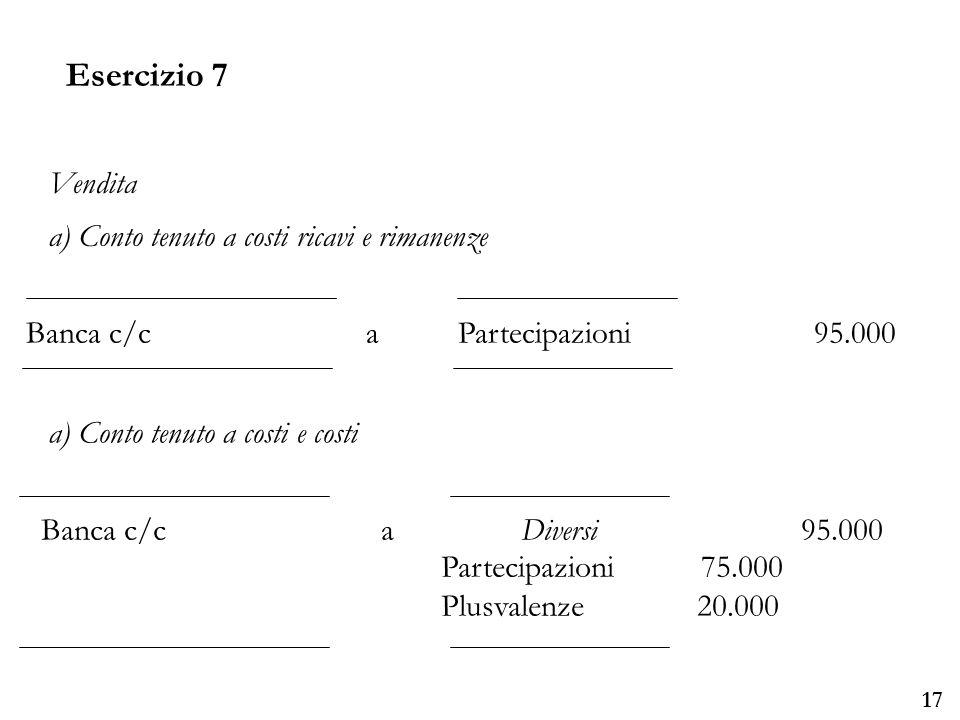 Università degli Studi di Parma 17 Banca c/c a Partecipazioni 95.000 Vendita a) Conto tenuto a costi ricavi e rimanenze a) Conto tenuto a costi e costi Banca c/ca Diversi 95.000 Partecipazioni 75.000 Plusvalenze 20.000 Esercizio 7
