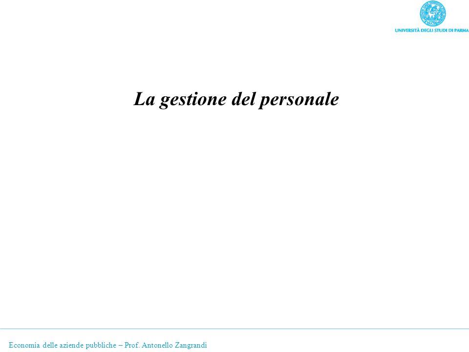 Economia delle aziende pubbliche – Prof. Antonello Zangrandi La gestione del personale