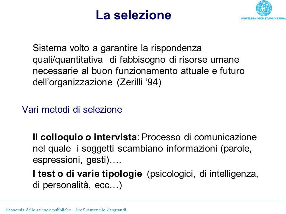 Economia delle aziende pubbliche – Prof. Antonello Zangrandi La selezione Sistema volto a garantire la rispondenza quali/quantitativa di fabbisogno di