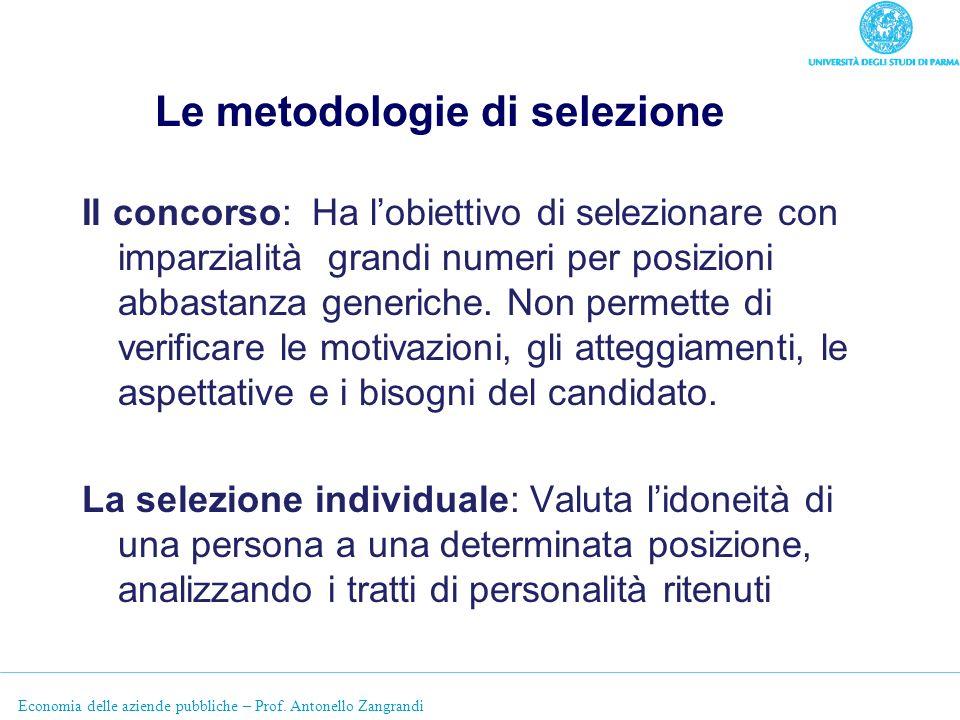 Economia delle aziende pubbliche – Prof. Antonello Zangrandi Le metodologie di selezione Il concorso: Ha lobiettivo di selezionare con imparzialità gr