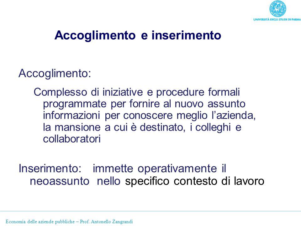 Economia delle aziende pubbliche – Prof. Antonello Zangrandi Accoglimento e inserimento Accoglimento: Complesso di iniziative e procedure formali prog