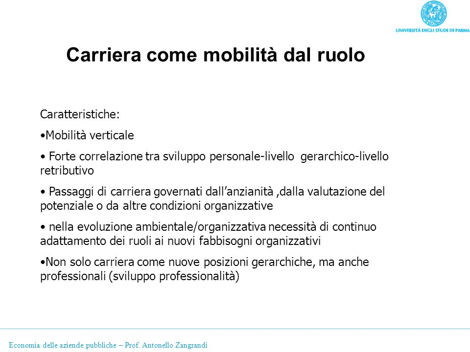 Economia delle aziende pubbliche – Prof. Antonello Zangrandi Carriera come mobilità dal ruolo Caratteristiche: Mobilità verticale Forte correlazione t