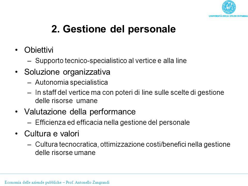 Economia delle aziende pubbliche – Prof. Antonello Zangrandi 2. Gestione del personale Obiettivi –Supporto tecnico-specialistico al vertice e alla lin