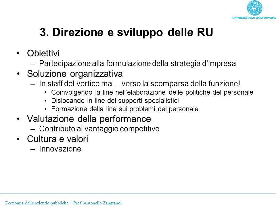 Economia delle aziende pubbliche – Prof. Antonello Zangrandi 3. Direzione e sviluppo delle RU Obiettivi –Partecipazione alla formulazione della strate