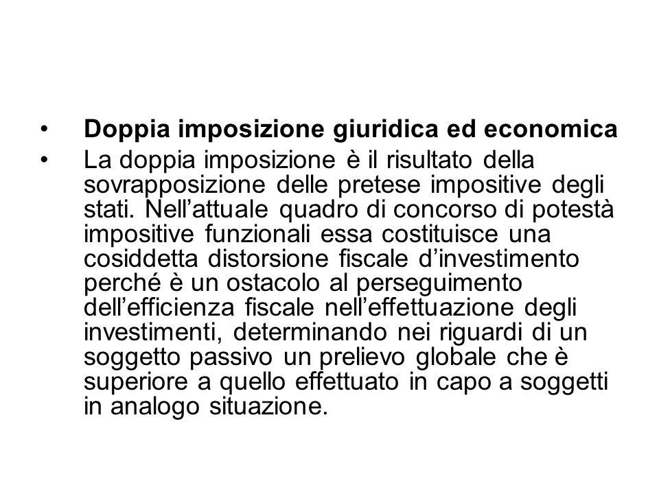 Doppia imposizione giuridica ed economica La doppia imposizione è il risultato della sovrapposizione delle pretese impositive degli stati. Nellattuale
