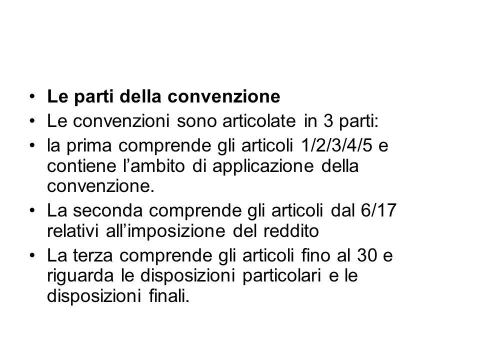Le parti della convenzione Le convenzioni sono articolate in 3 parti: la prima comprende gli articoli 1/2/3/4/5 e contiene lambito di applicazione del