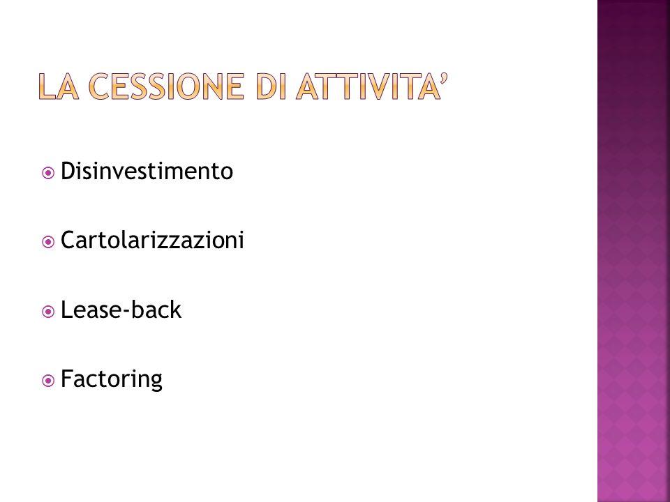 Disinvestimento Cartolarizzazioni Lease-back Factoring