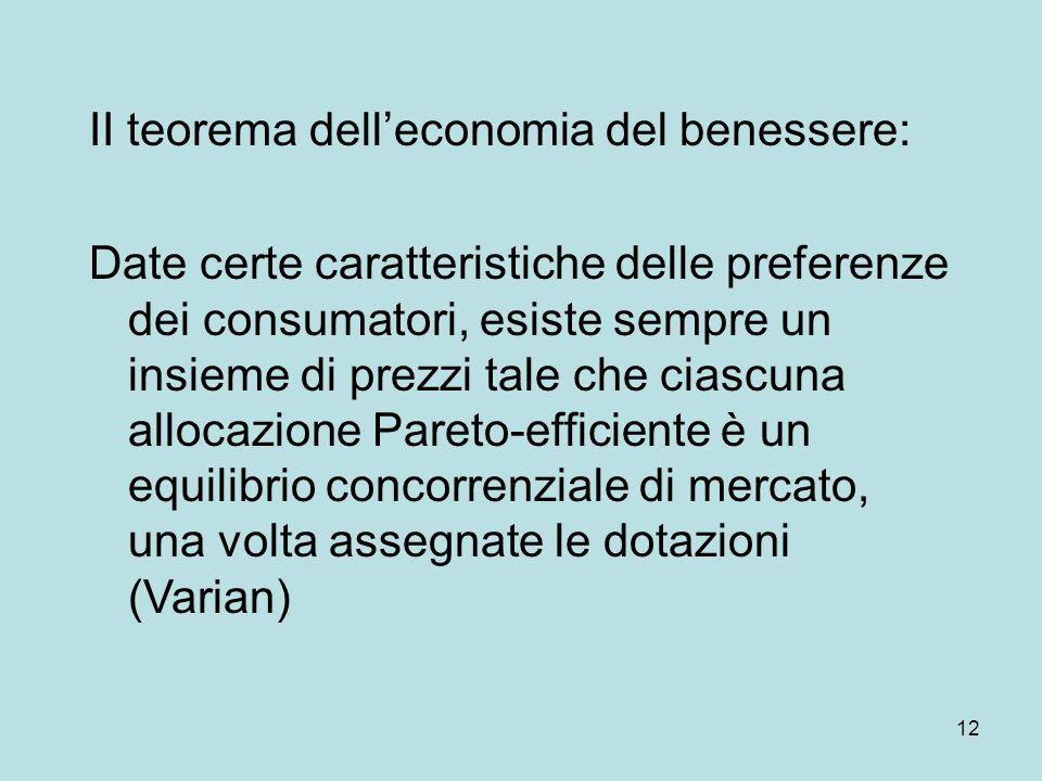 12 II teorema delleconomia del benessere: Date certe caratteristiche delle preferenze dei consumatori, esiste sempre un insieme di prezzi tale che ciascuna allocazione Pareto-efficiente è un equilibrio concorrenziale di mercato, una volta assegnate le dotazioni (Varian)