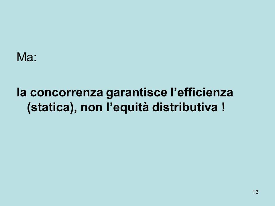 13 Ma: la concorrenza garantisce lefficienza (statica), non lequità distributiva !