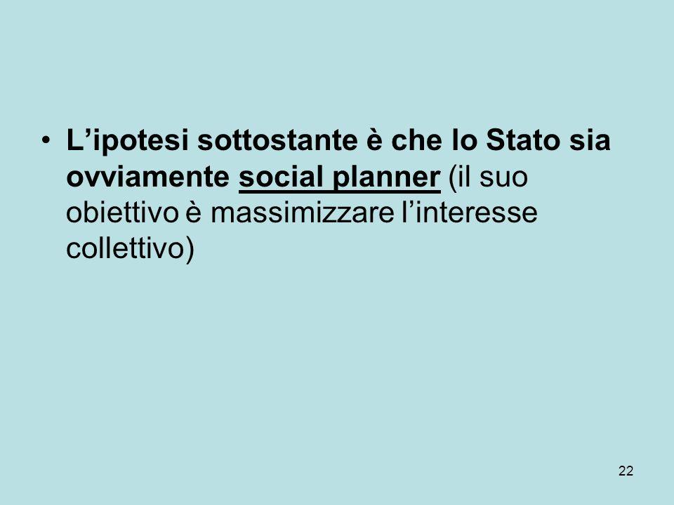 22 Lipotesi sottostante è che lo Stato sia ovviamente social planner (il suo obiettivo è massimizzare linteresse collettivo)