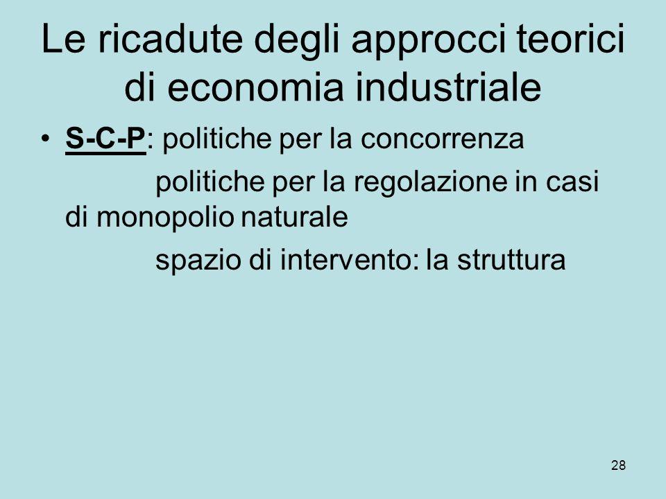 28 Le ricadute degli approcci teorici di economia industriale S-C-P: politiche per la concorrenza politiche per la regolazione in casi di monopolio naturale spazio di intervento: la struttura