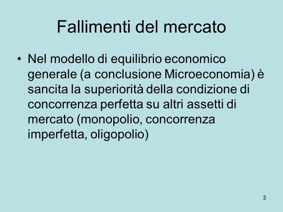 3 Fallimenti del mercato Nel modello di equilibrio economico generale (a conclusione Microeconomia) è sancita la superiorità della condizione di concorrenza perfetta su altri assetti di mercato (monopolio, concorrenza imperfetta, oligopolio)