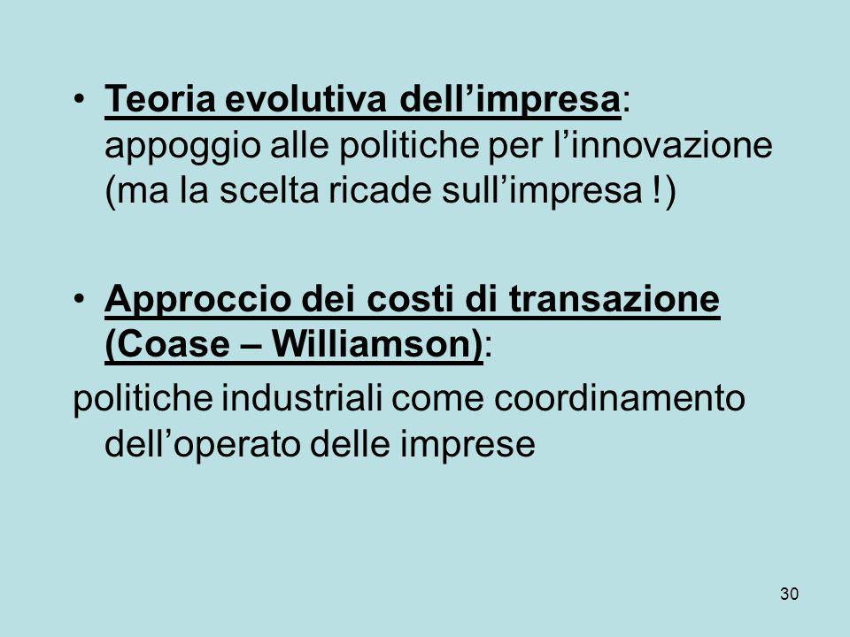 30 Teoria evolutiva dellimpresa: appoggio alle politiche per linnovazione (ma la scelta ricade sullimpresa !) Approccio dei costi di transazione (Coase – Williamson): politiche industriali come coordinamento delloperato delle imprese