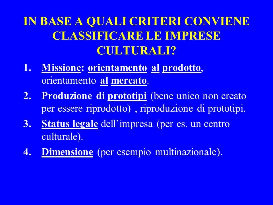 IN BASE A QUALI CRITERI CONVIENE CLASSIFICARE LE IMPRESE CULTURALI? 1.Missione: orientamento al prodotto, orientamento al mercato. 2.Produzione di pro