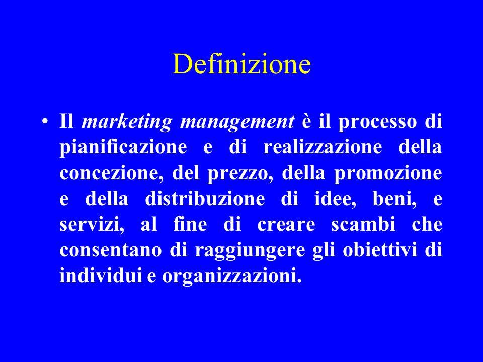 Definizione Il marketing management è il processo di pianificazione e di realizzazione della concezione, del prezzo, della promozione e della distribu