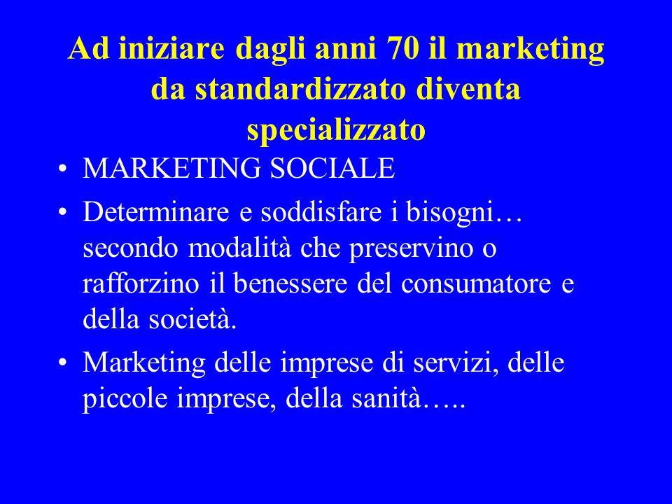 Ad iniziare dagli anni 70 il marketing da standardizzato diventa specializzato MARKETING SOCIALE Determinare e soddisfare i bisogni… secondo modalità