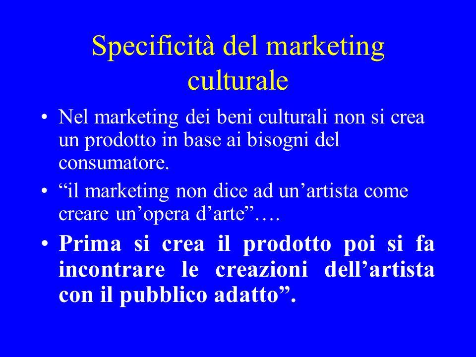 Specificità del marketing culturale Nel marketing dei beni culturali non si crea un prodotto in base ai bisogni del consumatore. il marketing non dice