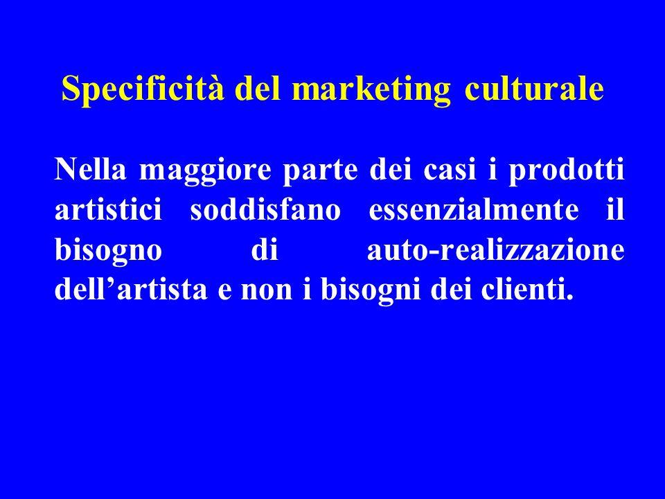 Specificità del marketing culturale Nella maggiore parte dei casi i prodotti artistici soddisfano essenzialmente il bisogno di auto-realizzazione dell