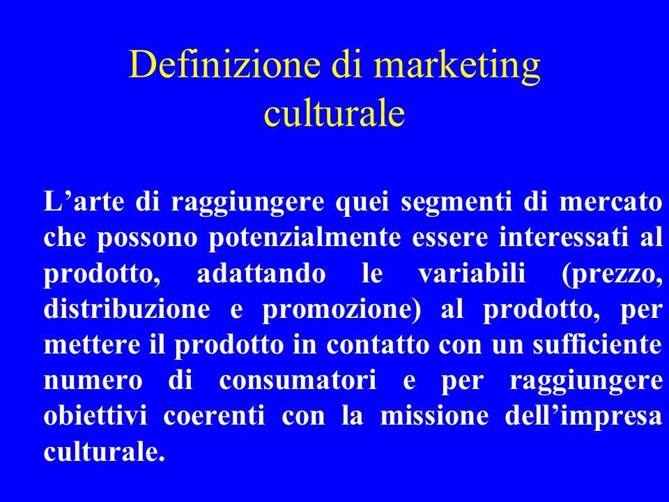 Definizione di marketing culturale Larte di raggiungere quei segmenti di mercato che possono potenzialmente essere interessati al prodotto, adattando