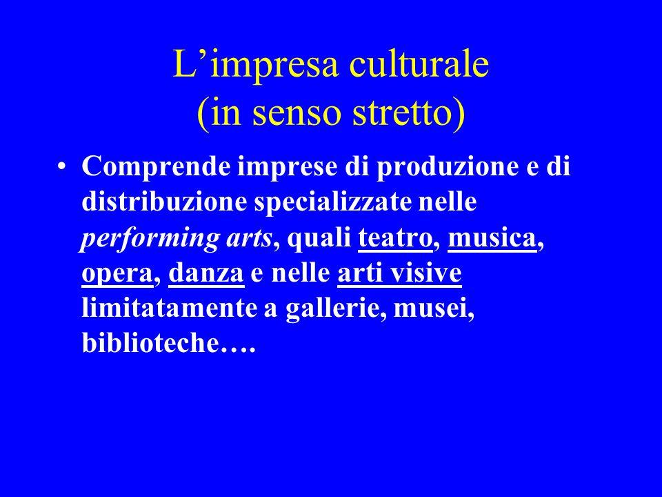 Limpresa culturale (in senso stretto) Comprende imprese di produzione e di distribuzione specializzate nelle performing arts, quali teatro, musica, op