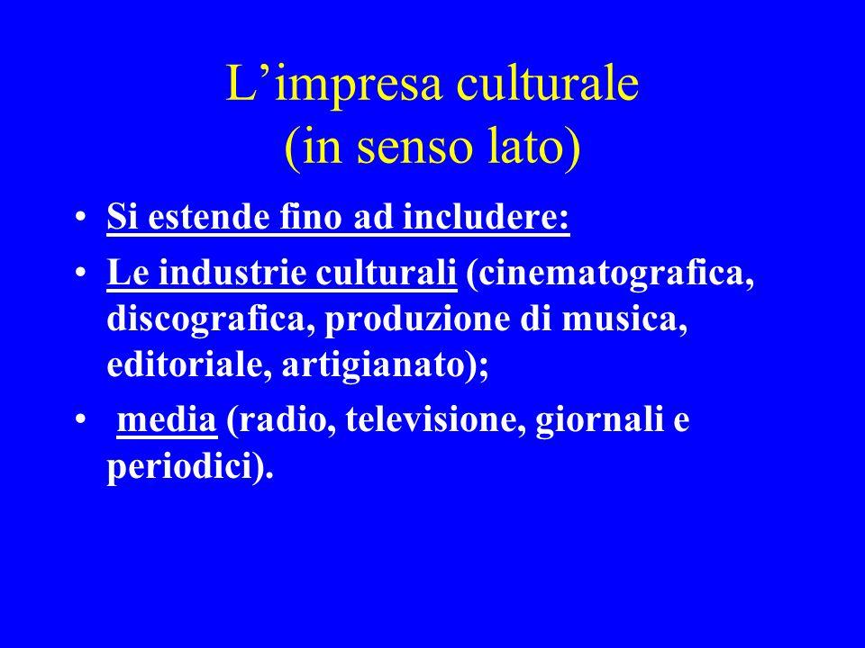 Limpresa culturale (in senso lato) Si estende fino ad includere: Le industrie culturali (cinematografica, discografica, produzione di musica, editoria