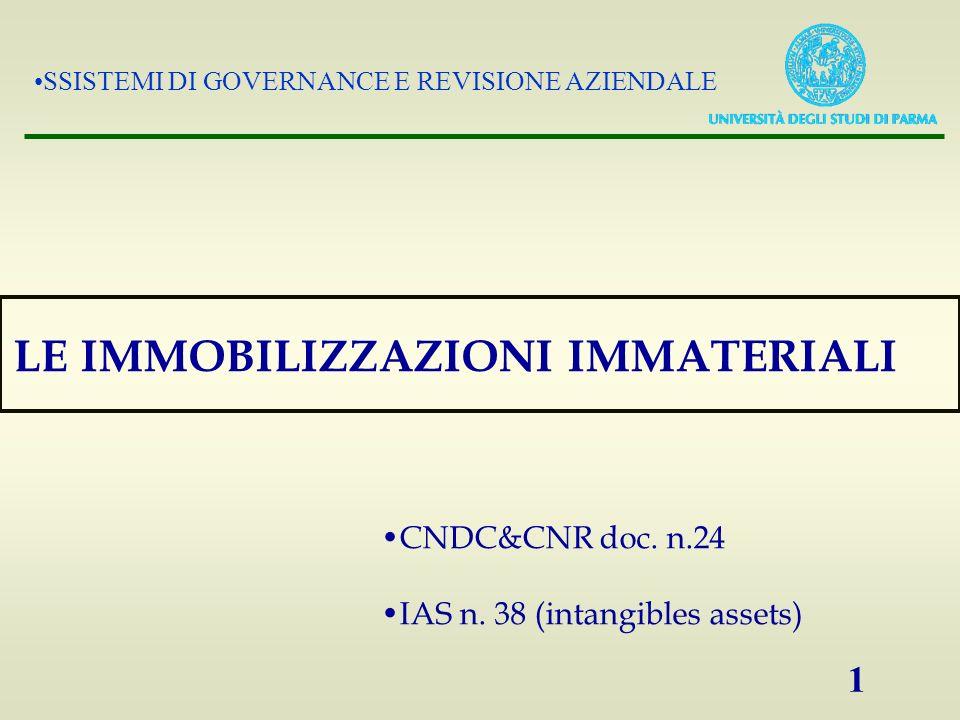 SSISTEMI DI GOVERNANCE E REVISIONE AZIENDALE 1 LE IMMOBILIZZAZIONI IMMATERIALI CNDC&CNR doc. n.24 IAS n. 38 (intangibles assets)