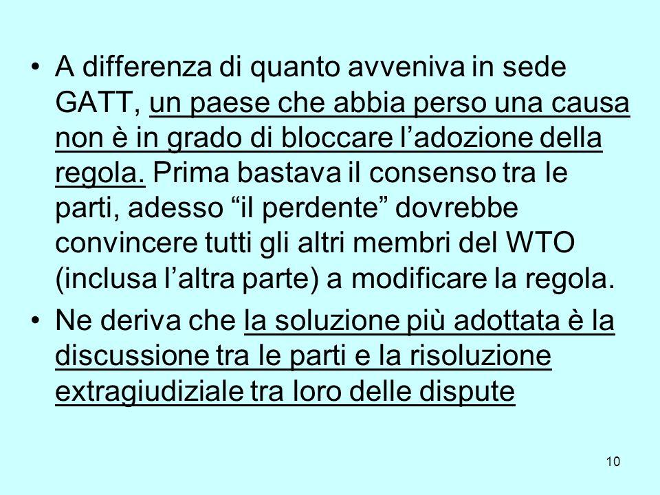 11 Per risolvere le sentenze, il Dispute Settlement Body (che è poi lAssemblea Generale), composto da tutti i membri del WTO, nomina un panel di esperti per discutere il caso, accettandone (o al limite anche respingendo) le decisioni.