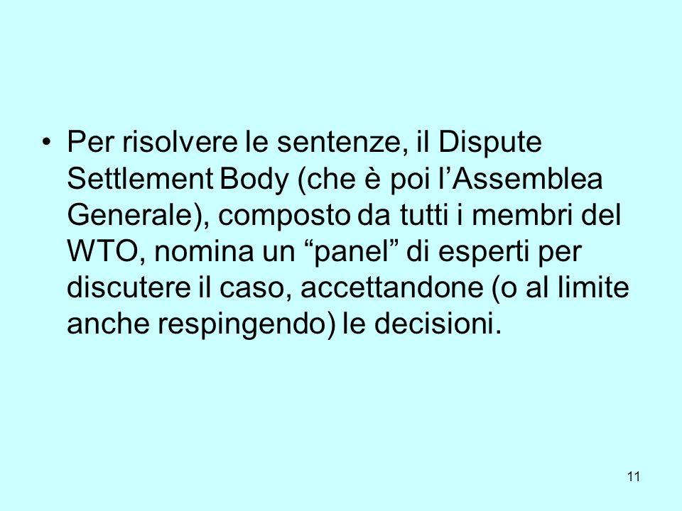 12 Al termine delliter procedurale, viene sottoposto un rapporto finale, che se modifica fortemente gli accordi WTO esistenti, diventa una regola o una raccomandazione del Dispute Settlement Body.