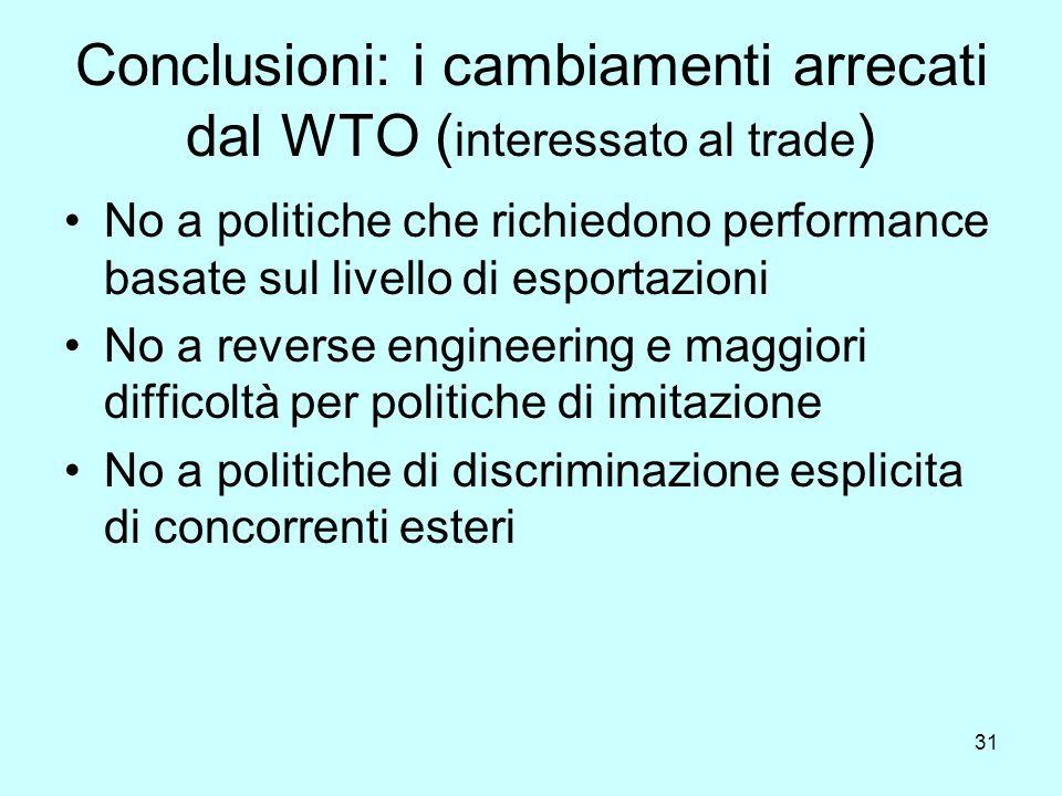 31 Conclusioni: i cambiamenti arrecati dal WTO ( interessato al trade ) No a politiche che richiedono performance basate sul livello di esportazioni No a reverse engineering e maggiori difficoltà per politiche di imitazione No a politiche di discriminazione esplicita di concorrenti esteri