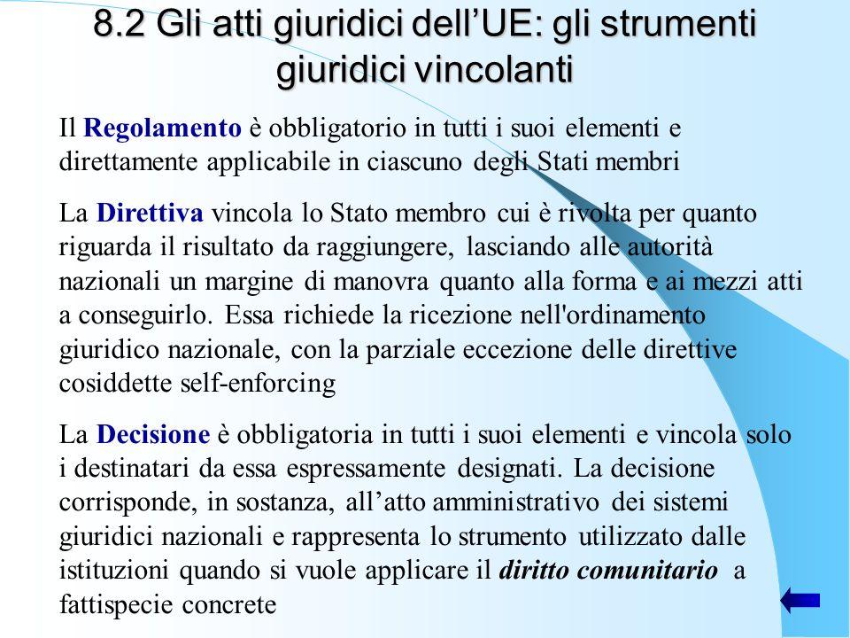 8.2 Gli atti giuridici dellUE: gli strumenti giuridici vincolanti Il Regolamento è obbligatorio in tutti i suoi elementi e direttamente applicabile in