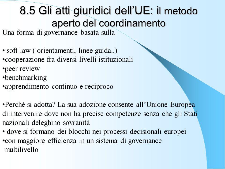 8.5 Gli atti giuridici dellUE: i l metodo aperto del coordinamento Una forma di governance basata sulla soft law ( orientamenti, linee guida..) cooper