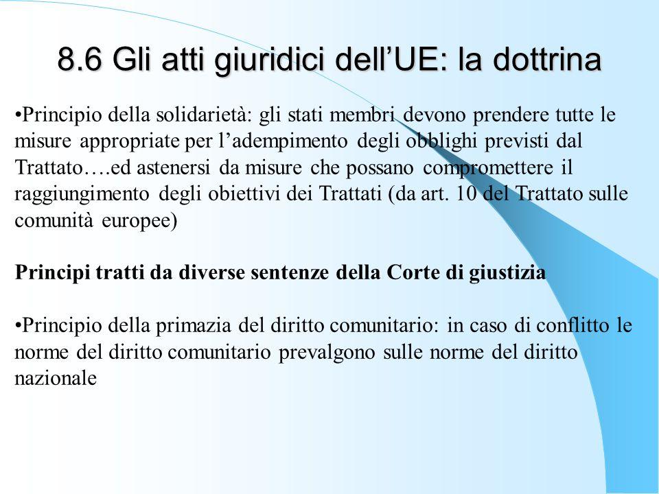 8.6 Gli atti giuridici dellUE: la dottrina Principio della solidarietà: gli stati membri devono prendere tutte le misure appropriate per ladempimento