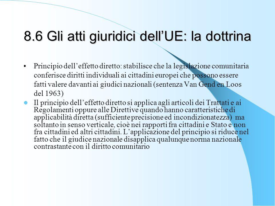 8.6 Gli atti giuridici dellUE: la dottrina Principio delleffetto diretto: stabilisce che la legislazione comunitaria conferisce diritti individuali ai
