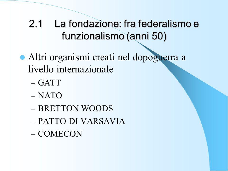 2.1 La fondazione: fra federalismo e funzionalismo (anni 50) Altri organismi creati nel dopoguerra a livello internazionale – GATT – NATO – BRETTON WO