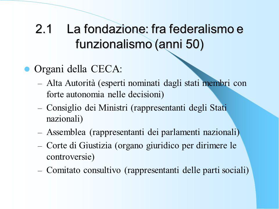 2.1 La fondazione: fra federalismo e funzionalismo (anni 50) Organi della CECA: – Alta Autorità (esperti nominati dagli stati membri con forte autonom