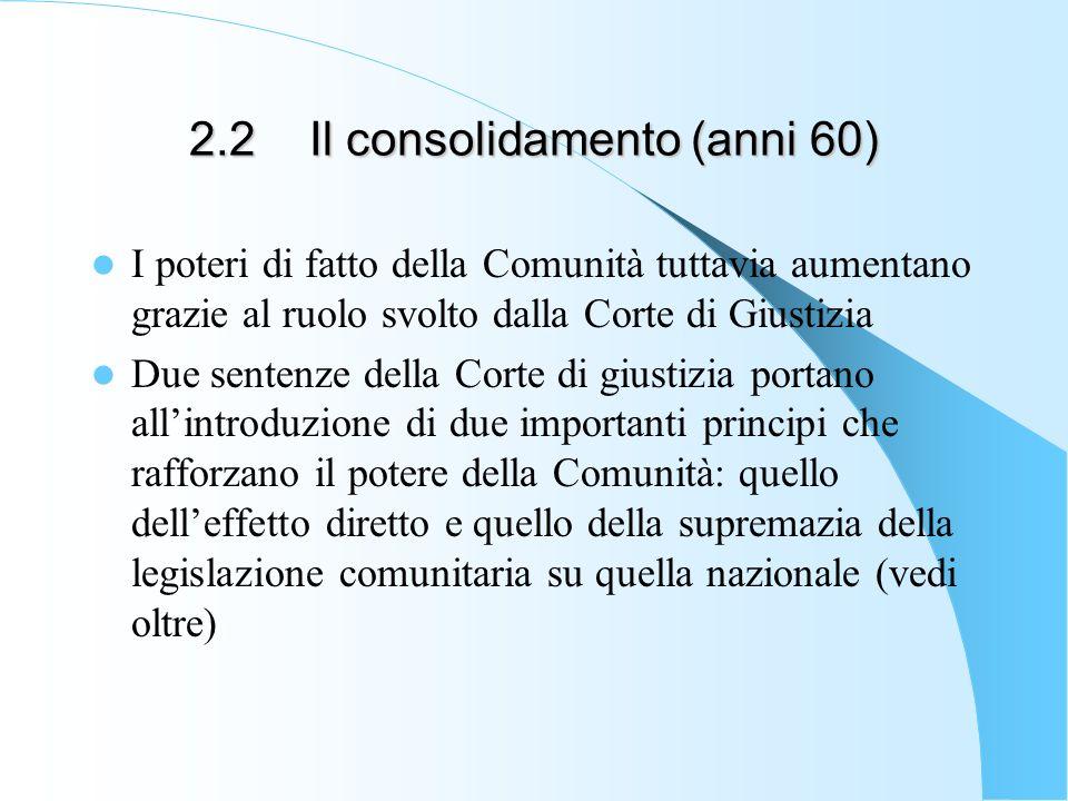 2.2 Il consolidamento (anni 60) I poteri di fatto della Comunità tuttavia aumentano grazie al ruolo svolto dalla Corte di Giustizia Due sentenze della