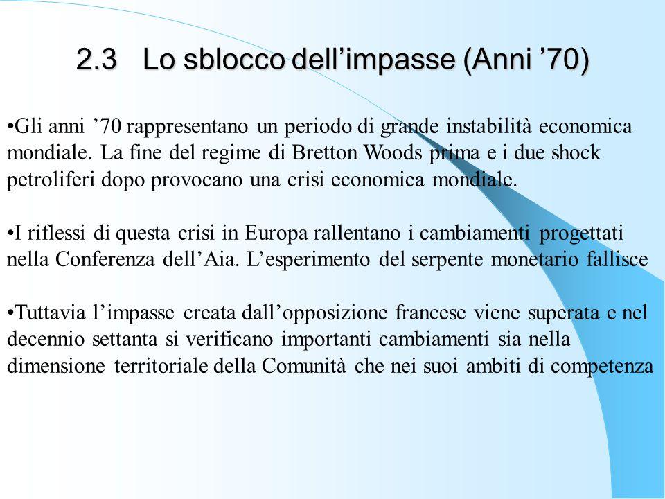 2.3Lo sblocco dellimpasse (Anni 70) Gli anni 70 rappresentano un periodo di grande instabilità economica mondiale. La fine del regime di Bretton Woods