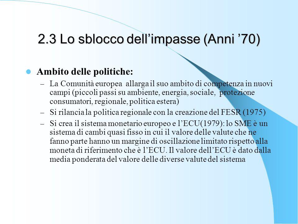 2.3 Lo sblocco dellimpasse (Anni 70) Ambito delle politiche: – La Comunità europea allarga il suo ambito di competenza in nuovi campi (piccoli passi s
