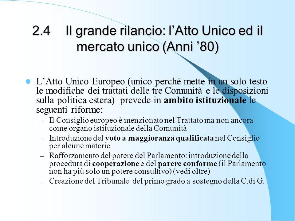 2.4 Il grande rilancio: lAtto Unico ed il mercato unico (Anni 80) LAtto Unico Europeo (unico perché mette in un solo testo le modifiche dei trattati d