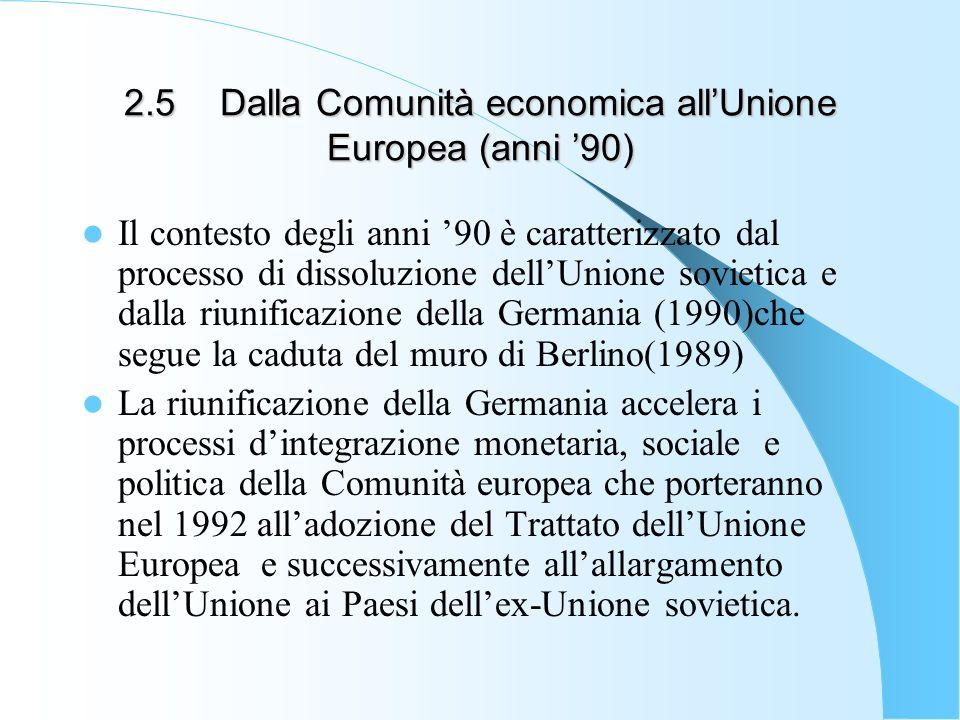 2.5Dalla Comunità economica allUnione Europea (anni 90) Il contesto degli anni 90 è caratterizzato dal processo di dissoluzione dellUnione sovietica e