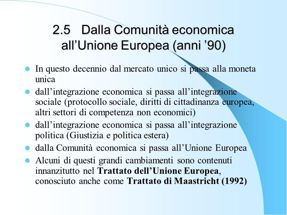 2.5Dalla Comunità economica allUnione Europea (anni 90) In questo decennio dal mercato unico si passa alla moneta unica dallintegrazione economica si