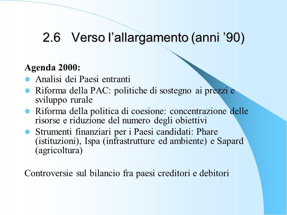 2.6Verso lallargamento (anni 90) Agenda 2000: Analisi dei Paesi entranti Riforma della PAC: politiche di sostegno ai prezzi e sviluppo rurale Riforma