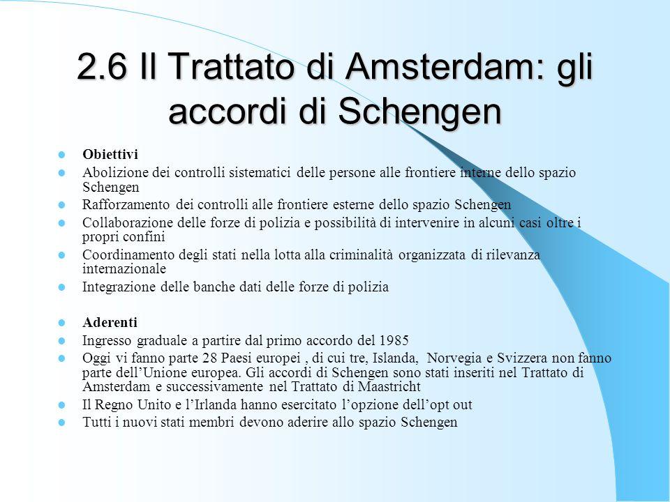 2.6 Il Trattato di Amsterdam: gli accordi di Schengen Obiettivi Abolizione dei controlli sistematici delle persone alle frontiere interne dello spazio