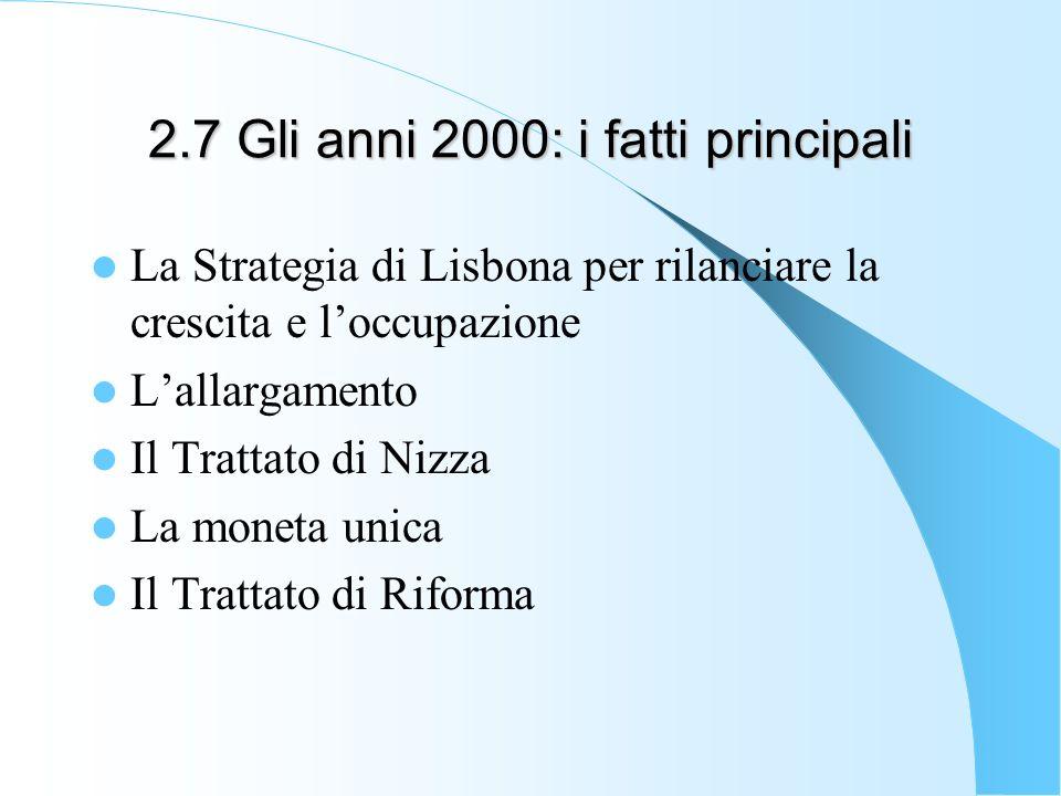 2.7 Gli anni 2000: i fatti principali La Strategia di Lisbona per rilanciare la crescita e loccupazione Lallargamento Il Trattato di Nizza La moneta u