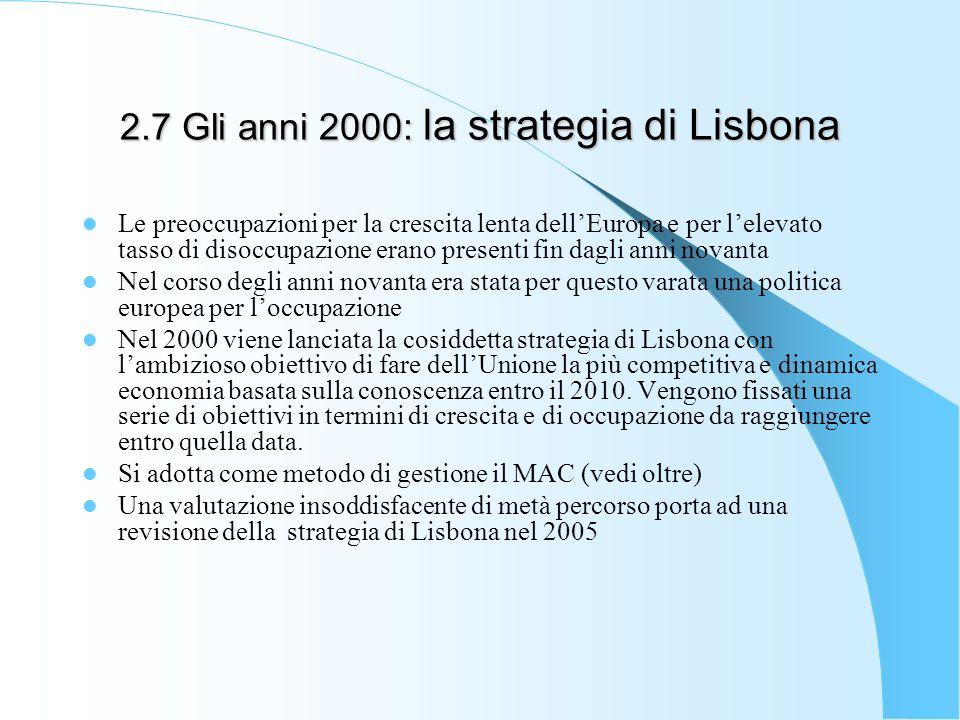 2.7 Gli anni 2000: la strategia di Lisbona Le preoccupazioni per la crescita lenta dellEuropa e per lelevato tasso di disoccupazione erano presenti fi