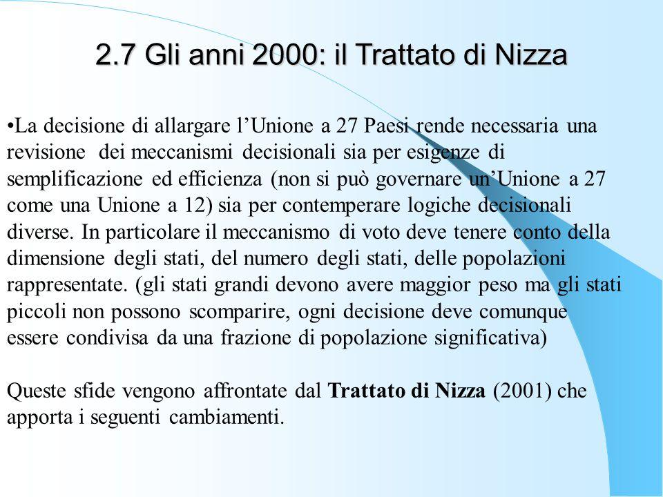 2.7 Gli anni 2000: il Trattato di Nizza La decisione di allargare lUnione a 27 Paesi rende necessaria una revisione dei meccanismi decisionali sia per