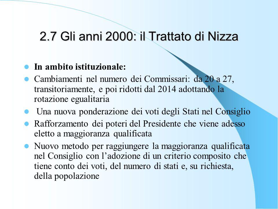 2.7 Gli anni 2000: il Trattato di Nizza In ambito istituzionale: Cambiamenti nel numero dei Commissari: da 20 a 27, transitoriamente, e poi ridotti da