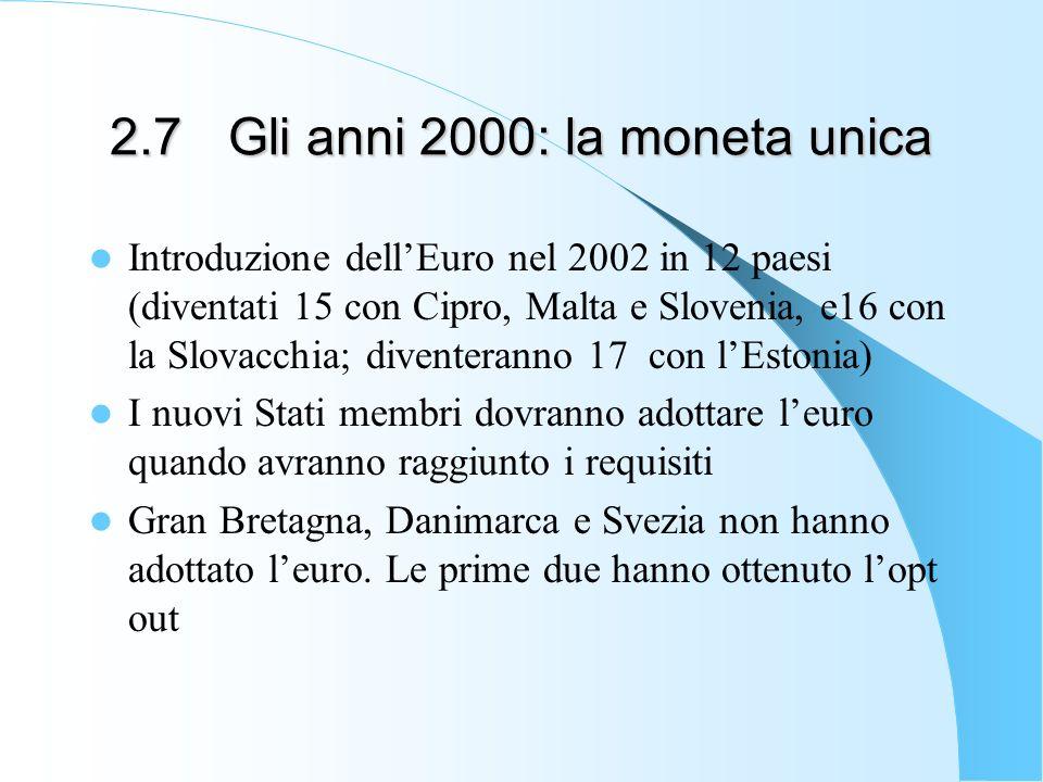 2.7 Gli anni 2000: la moneta unica Introduzione dellEuro nel 2002 in 12 paesi (diventati 15 con Cipro, Malta e Slovenia, e16 con la Slovacchia; divent