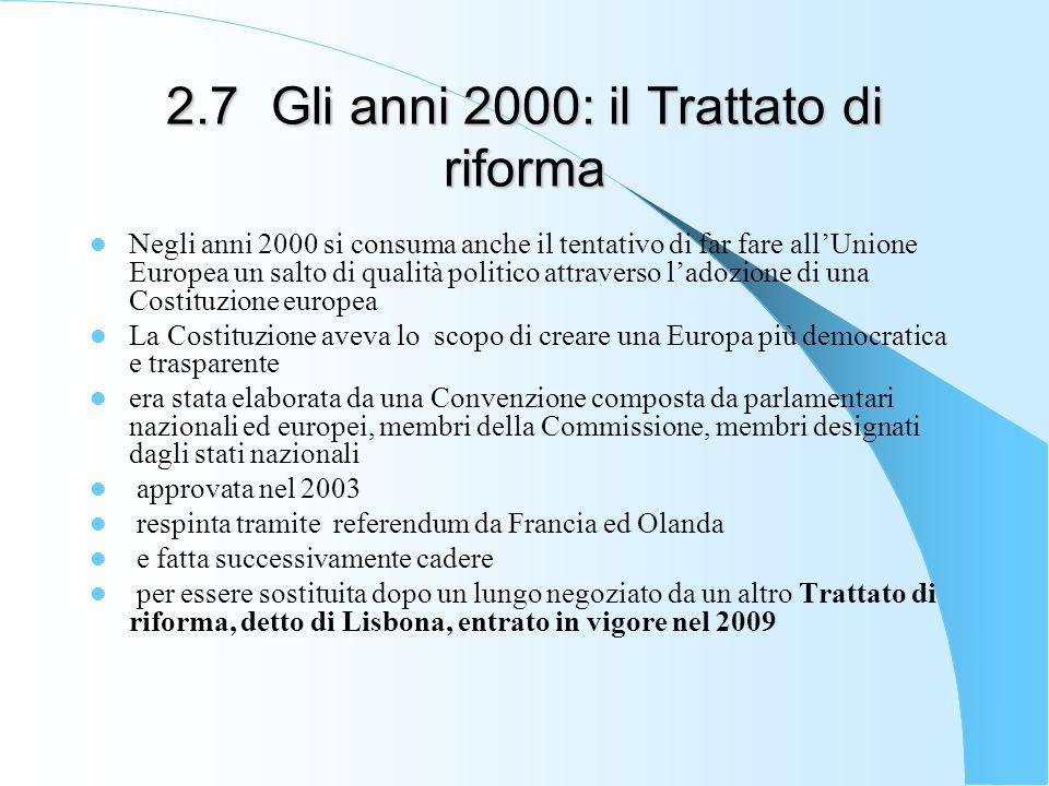 2.7Gli anni 2000: il Trattato di riforma Negli anni 2000 si consuma anche il tentativo di far fare allUnione Europea un salto di qualità politico attr