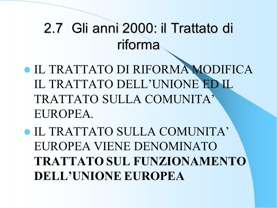 2.7Gli anni 2000: il Trattato di riforma IL TRATTATO DI RIFORMA MODIFICA IL TRATTATO DELLUNIONE ED IL TRATTATO SULLA COMUNITA EUROPEA. IL TRATTATO SUL